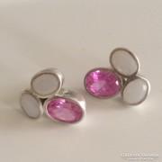 Valódi rózsaszín topázzal ékesített ezüst fülbevaló