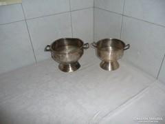 Alpakka füles régi leveses tál 2 db