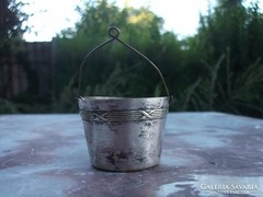 Akció ! ezüstözött antik teaszűrő-teafilteres vödröcske