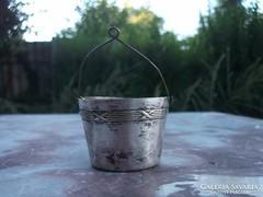 Akció ! Teaszűrő kosárka-vödör ezüstözött antik apróság