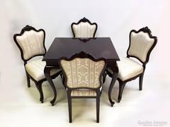 Barokk szalon, vagy étkező asztal négy székkel