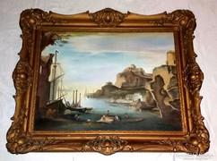 Mediterrán kikötő olajfestmény