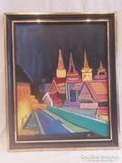 Bujáki József : Új világ olaj-farost festmény