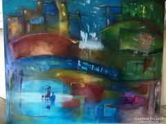 Eredeti,modern absztrakt, kortárs olajfestmény - Szentendre