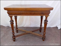 Antik faragott - intarziás  játékasztal