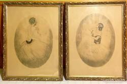 Lányok rózsával szecessziós rézkarcok párban