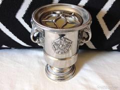 Pici pezsgősvödör forma ezüstözött váza vagy fogvájó tartó