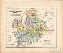 Hajdú vármegye térkép 1905, eredeti