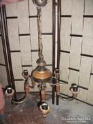 Antik fa réz ötvözetű 5 ágú csillár eladó!