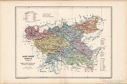 Alsó - Fehér vármegye térkép 1905, eredeti