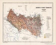 Modrus - Fiume vármegye térkép 1896, antik