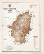 Turóc vármegye térkép 1897, antik, eredeti