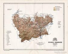Szeben vármegye térkép 1897, antik, eredeti