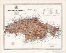 Nagy - Küküllő vármegye térkép 1896, antik, eredeti
