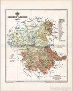 Komárom vármegye térkép 1894, antik, eredeti