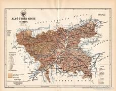 Alsó - Fehér megye térkép 1893, antik, eredeti