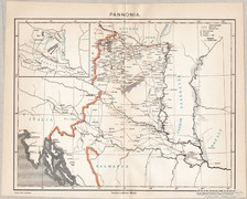Pannónia térkép, kiadva 1898, eredeti, antik