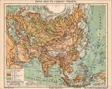 Ázsia hegy - és vízrajzi térkép 1894, eredeti, antik