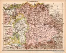 Bajorország térkép 1984, antik, eredeti