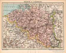 Belgium és Luxemburg térkép 1894, antik, eredeti
