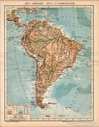 Dél - Amerika hegy- és vizrendszere térkép 1894, antik