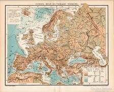 Európa hegy- és vízrajzi térkép 1895, antik, eredeti