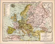 Európa politikai térkép 1895, antik, eredeti
