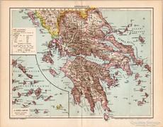 Görögország térkép 1895, eredeti, antik