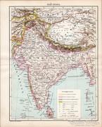 Elő - India térkép 1896, antik, eredeti