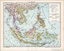 Hátsó India térkép 1896, eredeti, antik