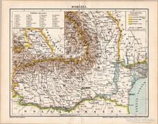 Románia térkép 1898, eredeti, antik