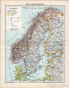Svéd - Norvégország térkép 1898, antik, eredeti