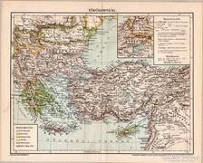 Törökország térkép 1898, antik, eredeti