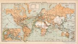 A világforgalom térképe 1894, antik, eredeti