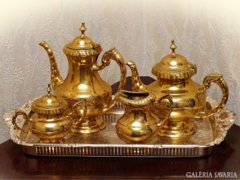 Tömör alpakka teás-kávés kínáló készlet