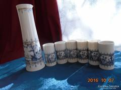 Wallendorf kancsó-váza 6 pohár/kis vázával-vintage 1960-27cm