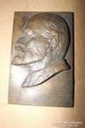 Eredeti Retro Lenin Jelzett Bronz Szocreál szobor