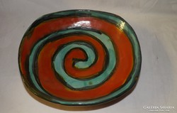 Iparművészeti fali kerámia tányér