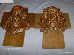 Szep vintage bronz maria es jezus fejjek