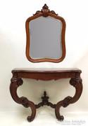 Antik barokk konzolasztal tükörrel