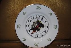 Hollóházi porcelán lovas óra
