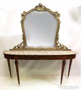 Intarziás konzolasztal tükörrel, márvány lappal