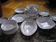 Antik fehér porcelán paraszt étkészlet - Zsolnay, cseh