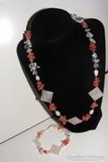 Rózsakvarc, Hegyikristály,  gyöngy nyakék és karkötő.