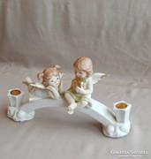 Angyalkás porcelán gyertatartó