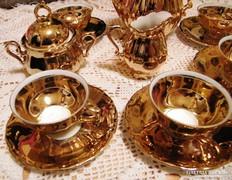 Antik kávés készlet, 24 karátos aranyozás RITKA, 70-80 éves