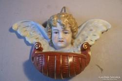Antik bécsi porcelán angyal szenteltvíz tartó