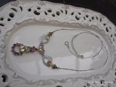 Citrin és ametiszt köves 925 ezüst collier nyaklánc