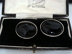 Onix kaboson ezüst fülbevaló