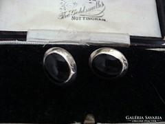 Onix ezüst fülbevaló